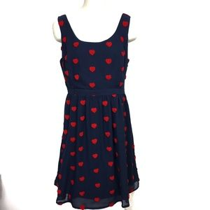 Modcloth A-Line Hearts Aflutter Dress Pockets L